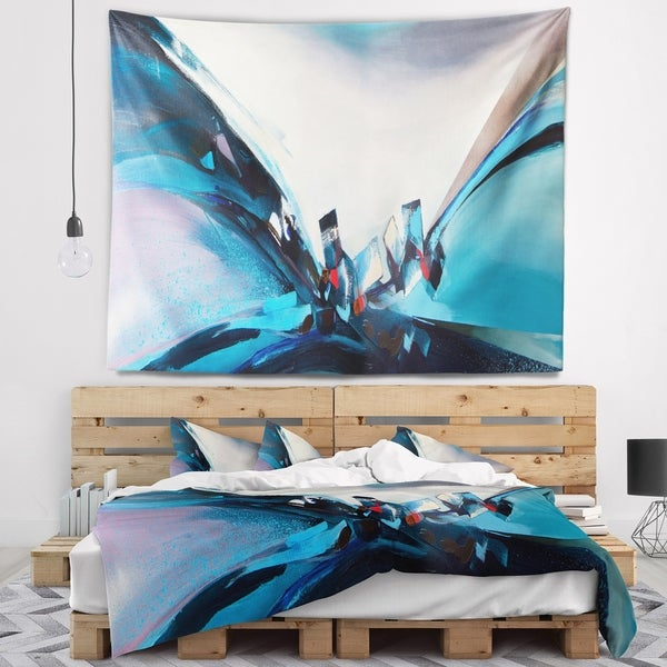 Designart 'Blue Panoramic Abstract Design' Abstract Wall Tapestry