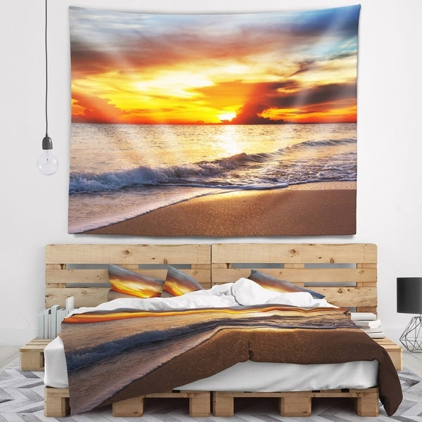 Designart 'Yellow Sunset over Gloomy Beach' Modern Beach Wall Tapestry