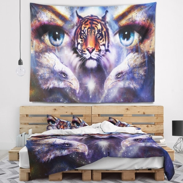 Designart 'Tiger with Woman Eyes' Animal Wall Tapestry
