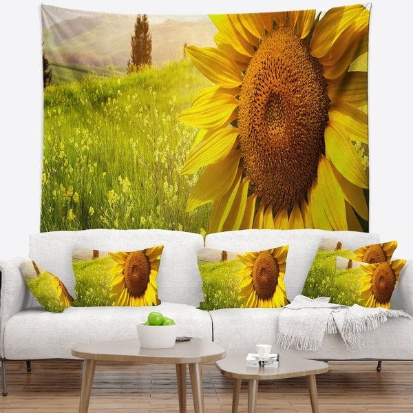Designart 'Yellow Field with Big Sunflower' Landscape Wall Tapestry