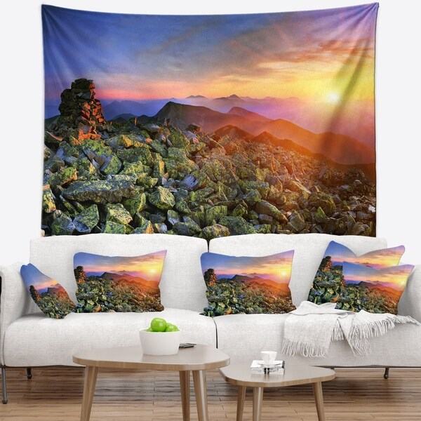 Designart 'Bright Sun in Carpathian Mountains' Landscape Photography Wall Tapestry