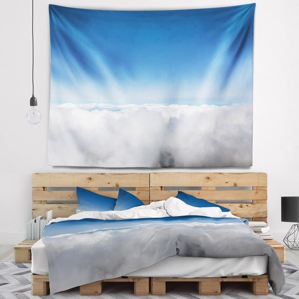 Designart 'Aerial View of Sky over Clouds' Contemporary Landscape Wall Tapestry