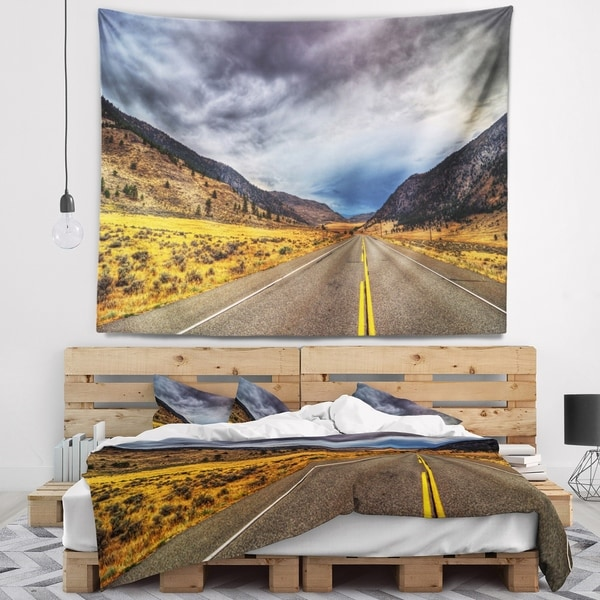 Designart 'Mountain Desert Highway British Columbia' Landscape Wall Tapestry