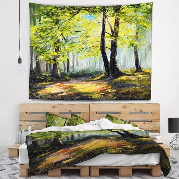 Designart 'Green Autumn Forest' Landscape Wall Tapestry
