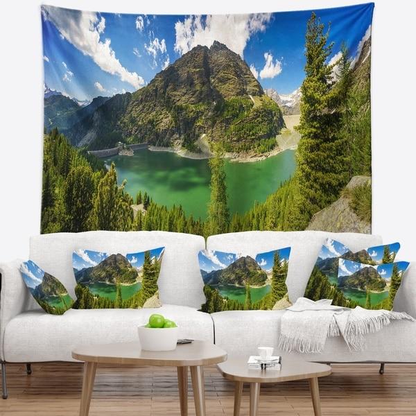 Designart 'Greeny Alpine Reservoir' Landscape Wall Tapestry