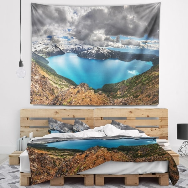 Designart 'Lake Surrounded by Mountains' Landscape Wall Tapestry