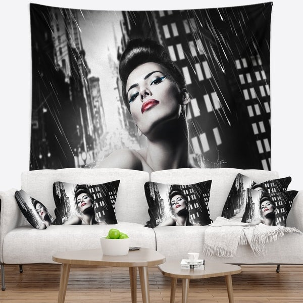 Designart 'Brunette Woman with Red Lips' Woman Portrait Wall Tapestry