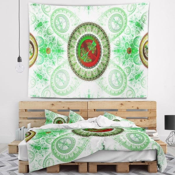 Designart 'Light Green Psychedelic Relaxing Art' Abstract Wall Tapestry