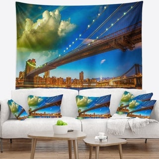 Designart 'Brooklyn Bridge with Cloud in Sky' Cityscape Photo Wall Tapestry