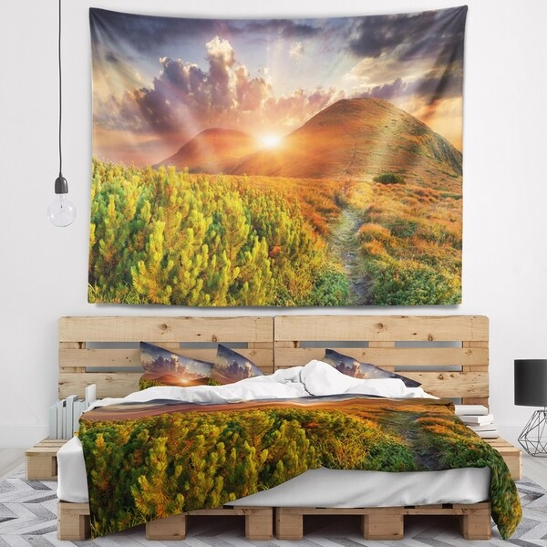 Designart 'Colorful Fall Landscape in Mountains' Landscape Wall Tapestry