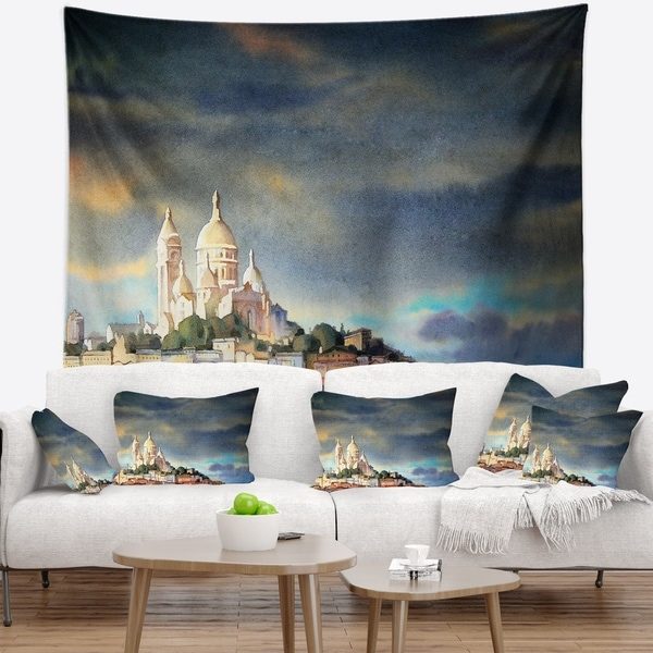 Designart 'Montmartre Skyline' Watercolor Painting Wall Tapestry
