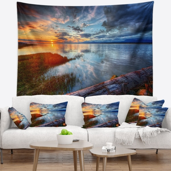 Designart 'Colorful River Sunset With Log' Seashore Wall Tapestry
