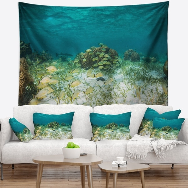 Designart 'School of Grunts with Baracuda' Seashore Wall Tapestry
