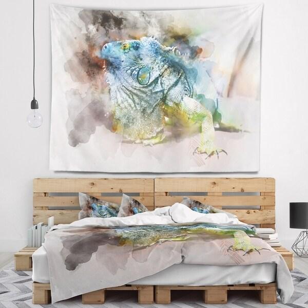 Designart 'Green Iguana Close Up Painting' Abstract Wall Tapestry