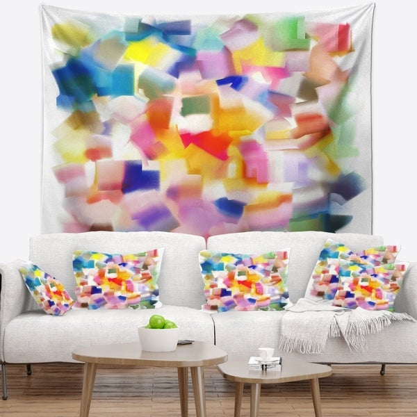 Designart 'Colorful Stain Design without Grid' Abstract Wall Tapestry