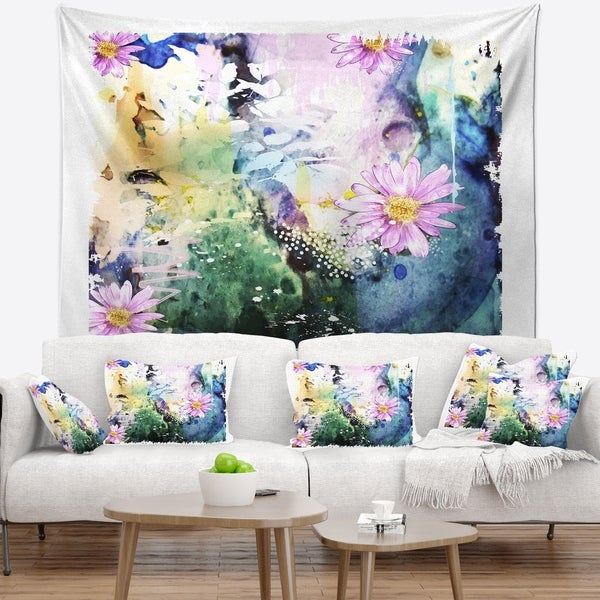 Designart 'Abstract Blue Pink Floral Art' Floral Wall Tapestry