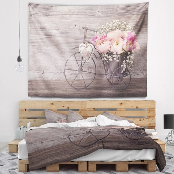 Designart 'Ranunculus Flowers in Bicycle Vase' Floral Wall Tapestry