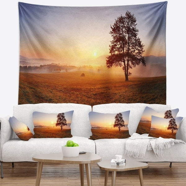 Designart 'Lonely Tree at Sunset' Landscape Photography Wall Tapestry