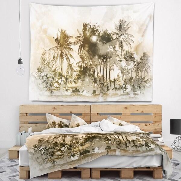 Designart 'Dark Palms at Sunset' Landscape Wall Tapestry