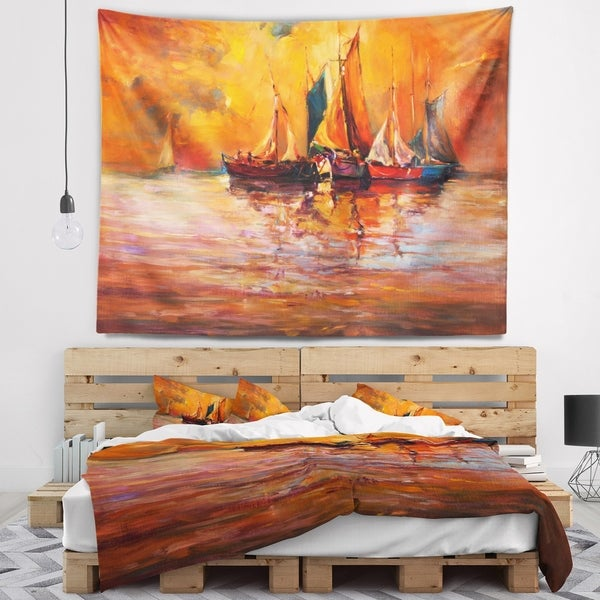 Designart 'Boats and Ocean in Red' Seascape Wall Tapestry