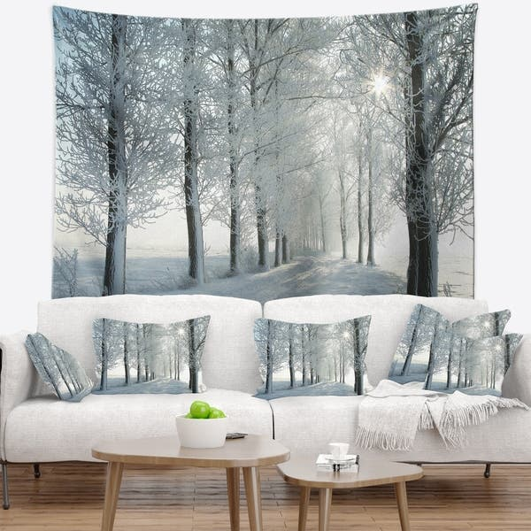 Designart Winter Trees Backlit By Morning Sun Forest Wall Tapestry On Sale Overstock 20926578