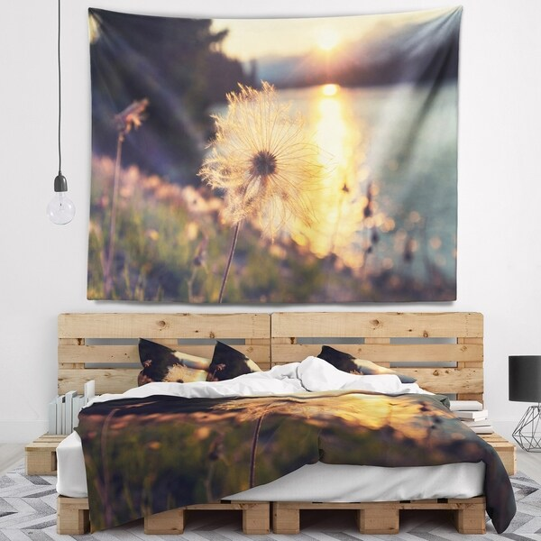 Designart 'Arctic Cotton Flowers At Sunset' Floral Wall Tapestry