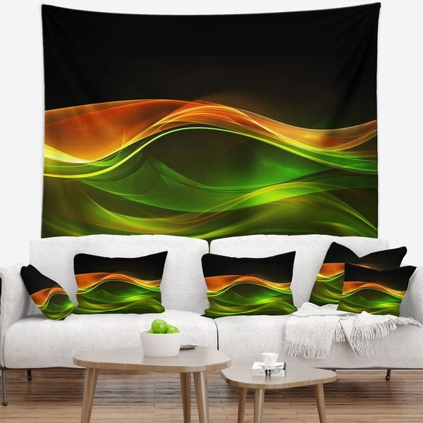 Designart 'Abstract Green Yellow in Black' Abstract Wall Tapestry