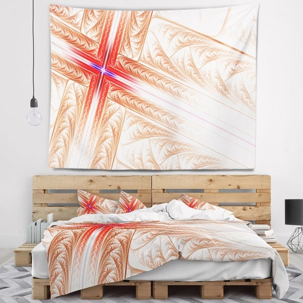 Designart 'Red Fractal Cross Design' Abstract Wall Tapestry