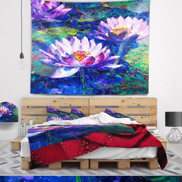 Designart 'Blue Lotus Oil Painting' Floral Wall Tapestry
