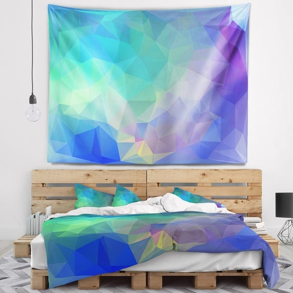 Designart 'Light Blue Polygonal Mosaic Pattern' Abstract Wall Tapestry