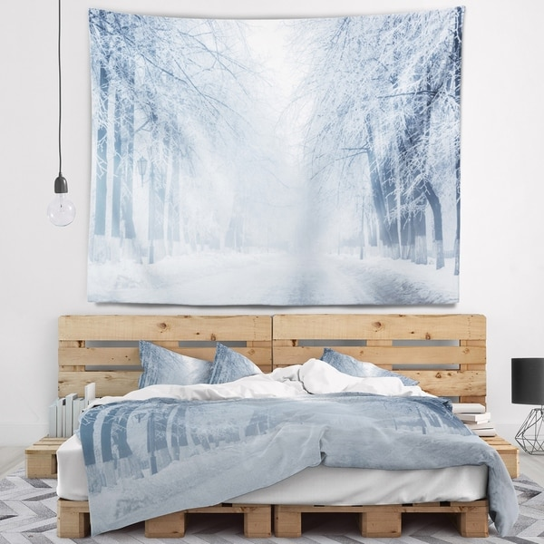 Designart 'White Road and Winter Trees' Landscape Photography Wall Tapestry