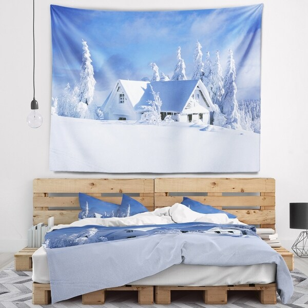 Designart 'Orlicke Hory Cottage in Winter' Landscape Photography Wall Tapestry