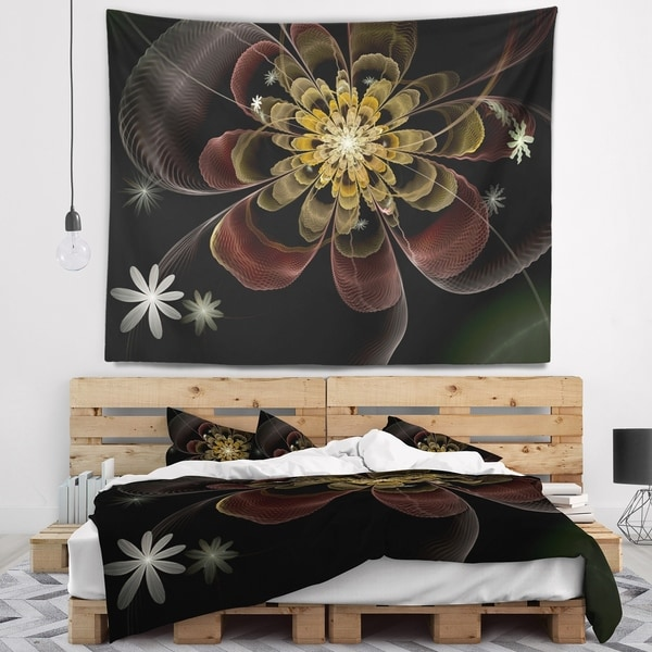 Designart 'Brown Fractal Flower with Silver stars' Floral Wall Tapestry