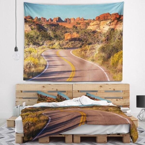 Designart 'Road in Rocky American Prairie' Landscape Wall Tapestry