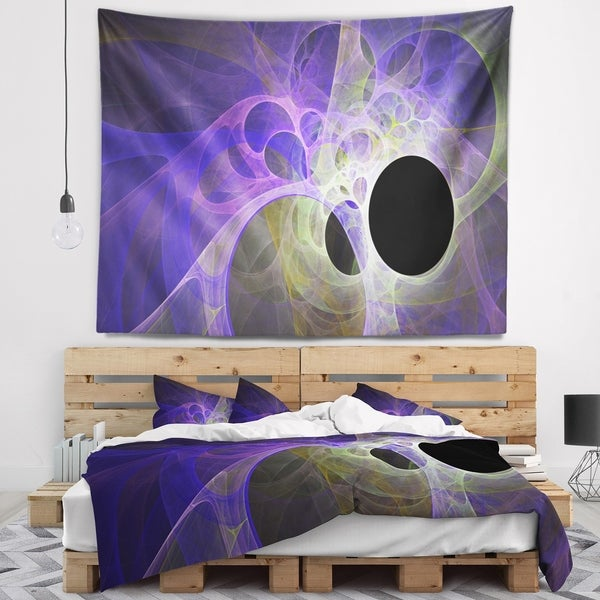Designart 'Blue Fractal Angel Wings' Abstract Wall Tapestry