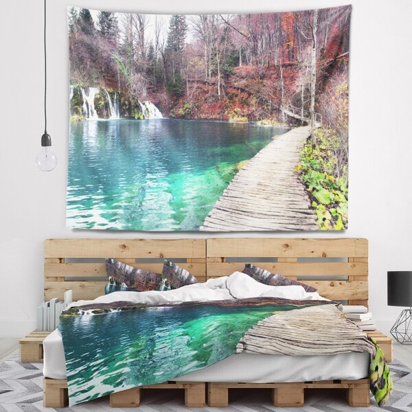 Designart 'Plitvice Lakes National Lark' Landscape Photography Wall Tapestry