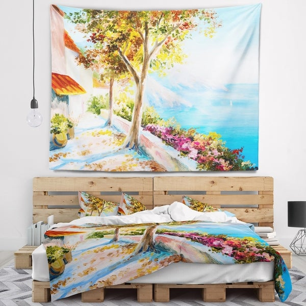 Designart 'House and Sea in the Fall' Landscape Wall Tapestry