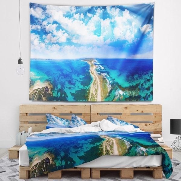 Designart 'Blue Fort Nepean Road from Helicopter' Landscape Wall Tapestry