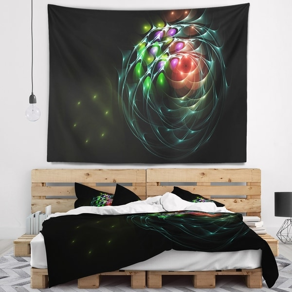 Designart 'Green 3D Surreal Fractal Design' Abstract Wall Tapestry