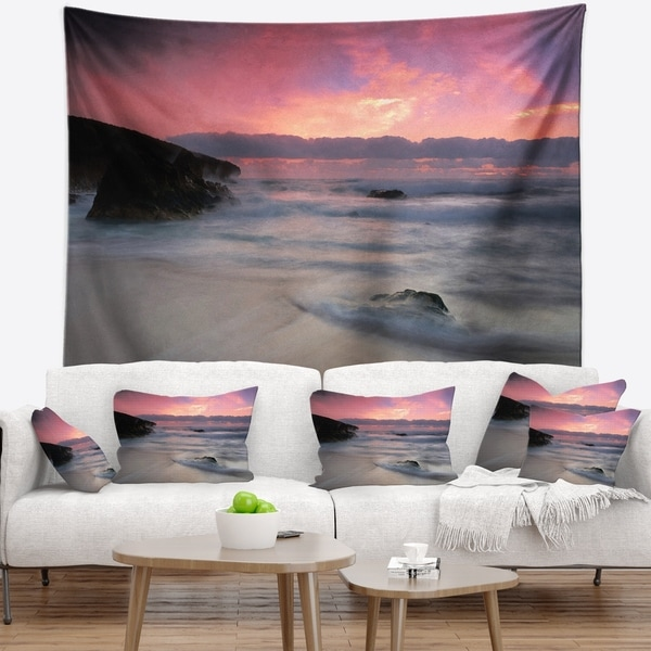 Designart 'White Waters at Guincho Beach Cascais' Seashore Wall Tapestry