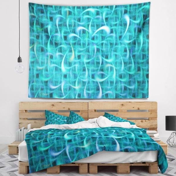 Designart 'Turquoise Watercolor Fractal Pattern' Abstract Wall Tapestry