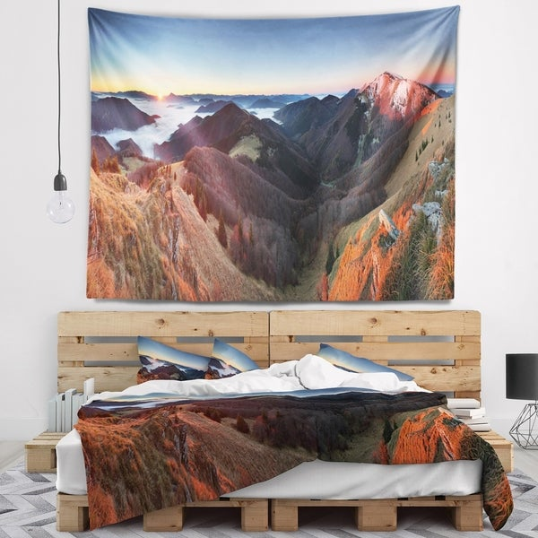 Designart 'Red Mountain Sunset Panorama' Landscape Wall Tapestry