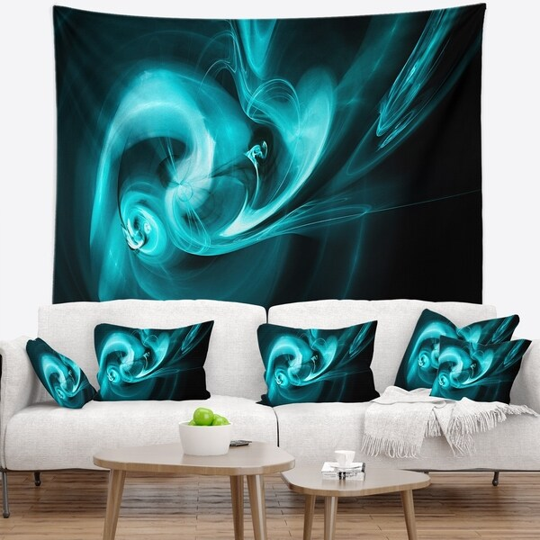 Designart 'Blue Colored Smoke Pattern' Abstract Wall Tapestry