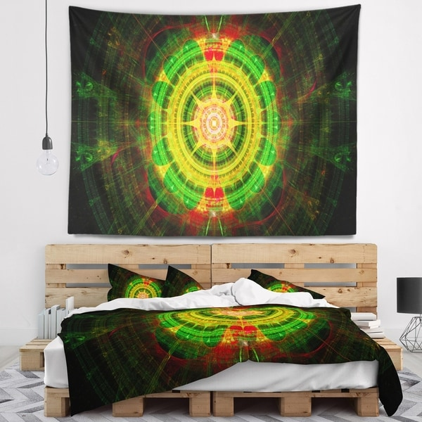 Designart 'Bright Green Fractal Sphere' Abstract Wall Tapestry