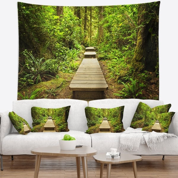 Designart 'Path in Temperate Rainforest' Landscape Photography Wall Tapestry