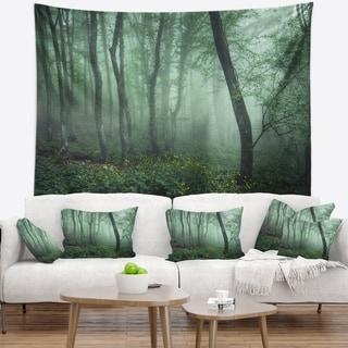 Designart 'Trail Through Dark Foggy Forest' Landscape Photography Wall Tapestry