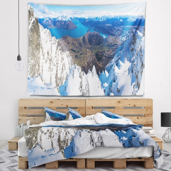 Designart 'Frankton and Lake Aerial View Panorama' Landscape Wall Tapestry