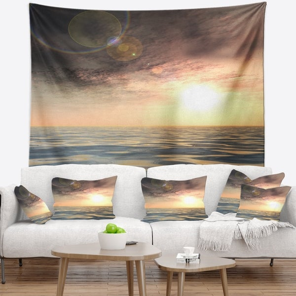 Designart 'Dark Sky with Clouds at Sunset' Beach Photo Wall Tapestry