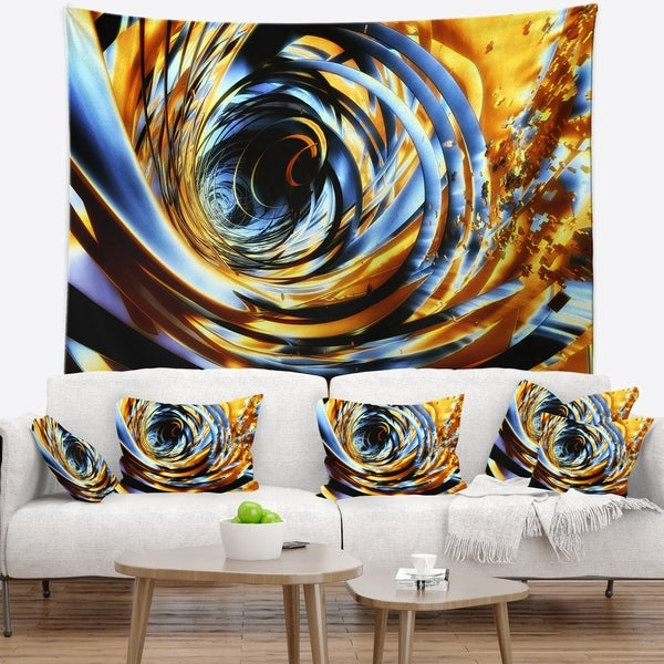 Designart 'Fractal 3D Whirlwind Stripes' Contemporary Wall Tapestry