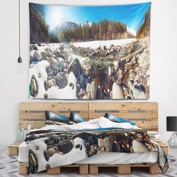 Designart 'Baskan Mountain River at Wintertime' Landscape Wall Tapestry